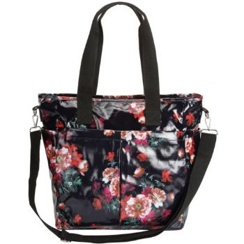 Oilskin Multi Pocket Tote Bag - Dark Floral
